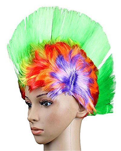 (Da.Wa Colorful Cockscomb School and Team Spirit Punk Mohawk Hair Rainbow Wig Mohican Dress Cosplay)