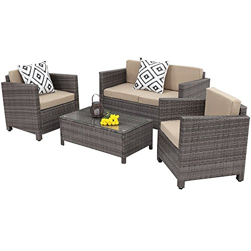 Outdoor Patio Furniture Set,Wisteria Lane 4 Piece Rattan