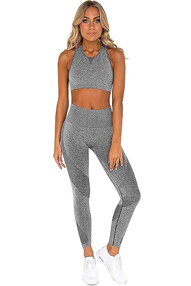 Yoga Ducomi Gin Chandal Fitness Mujer Set Leggings Y Top Deportivos Para Gimnasio Joggings Y Deporte Ropa Completa Deportiva Leggins Cintura Alta Y Top Crop Apoyo Y Confort Ropa Mujer