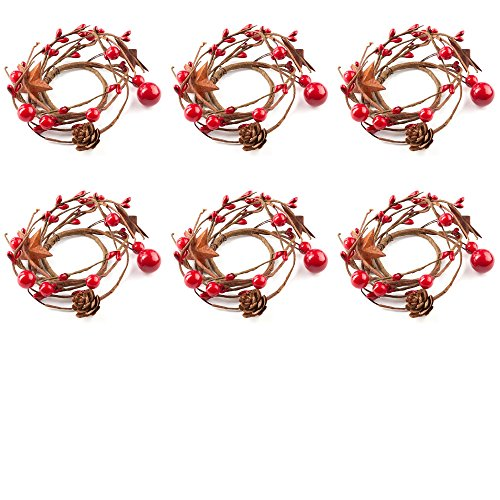 (Factory Direct Craft Holiday Red Berries, Rusty Stars, and Pinecone Mini Candlerings (6 Pack))
