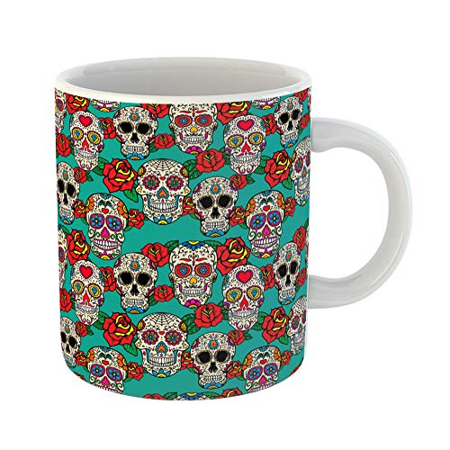 Emvency Coffee Tea Mug Gift 11 Ounces Funny Ceramic Colorful Pattern Sugar Skulls and Roses Dia De Los Muertos Dead Day Calavera Gifts For Family Friends Coworkers Boss Mug