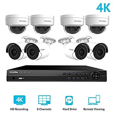 LaView 8-channel 4K IP 2TB HDD Surveillance NVR Kit with (4) 4K Dome Cameras by LaView
