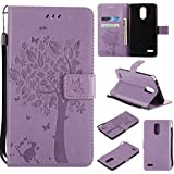 LG Stylo 3 Case,Stylus 3 plus wallet Case,Premium Vintage Emboss Floral PU Leather Built-In Card/Cash Slots,Stand Magnetic Wristlet Strap Case By Zvkvamt (TREE-PURPLE)