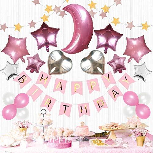 Mainiusi 風船 誕生日 飾り付け 女の子 バースデー お祝い 装飾 ガーランド 特大 ハート型 バルーン デコレーション HAPPY BIRTHDAY ピンク シルバースター と月