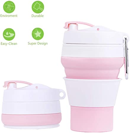 Collapsible Durable Drinking Foldable Coffee Cup Made of Silicone Reusable 350ml Portable Lids