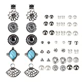 Casoty 27 Pairs Stud Earrings Mixed Design Modern Style and Bohemia Retro Vintage Style Sets Card pack