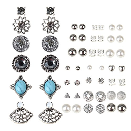 Casoty 27 Pairs Stud Earrings Mixed Design Modern Style and Bohemia Retro...