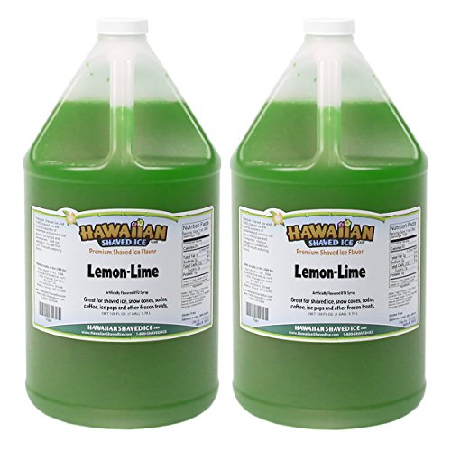 - Hawaiian Shaved Ice Ready-to-Use Lemon Lime Snow Cone Syrup | Includes Two Gallons [128 oz.] of Premium Shaved Ice or Snow Cone Syrup | For Home or Commercial Use