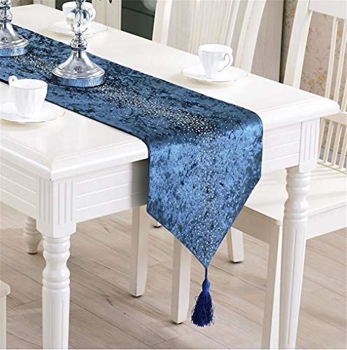 Cristallo Pendant - JSUESE Black Table Runner Modern Dinning Table Runner Cristallo Design Blue Table Runners for Wedding Party Home Textiles Bed Runners