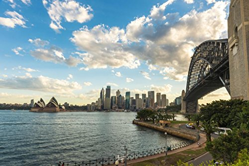 (View of Sydney Skyline with Sydney Opera House from Kirribilli Photo Art Print Poster 36x24 inch)