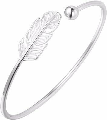 3Pcs//Set Women Silver Leaves Feather Love Rhinestone Opening Bangle Bracelets