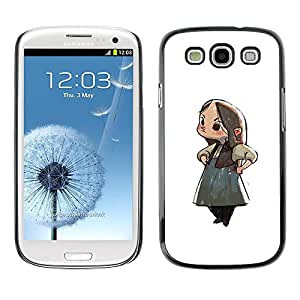 Slim Design Hard PC/Aluminum Shell Case Cover for Samsung Galaxy S3 I9300 Japanese Anime Girl Cartoon Big Eyes Art / JUSTGO PHONE PROTECTOR