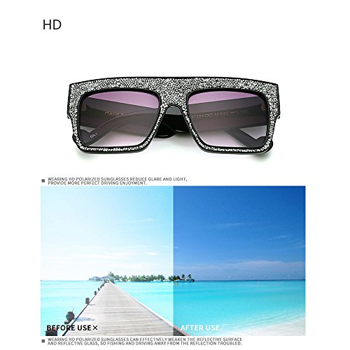 Oversized UV Sparkling Frame avec Lunettes Bmeigo Crystal Lunettes Femme Homme B03 Blocage Square des de soleil 100 pour g0xqaE