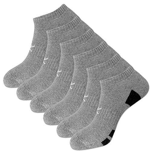 KONY Men's 6 Pairs Moisture Wicking Cotton Thick Cushioned Low Ankle Athletic Socks Size 9-12 All Season Gift (Grey)