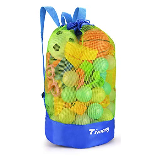 Large Mesh Beach Bag, Timoey Durable Double Shoulder Strap bag, Tote Sand Away Drawstring Beach Backpack Swim And Child Toys Balls Storage Bags Packs, keep dry, Toy Not Include Blue