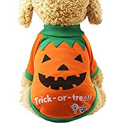 Aunimeifly Halloween Pet Clothes Puppy Pumpkin Printed Shirts Witch Tops Sweatshirts Dog Costume Pullover Orange