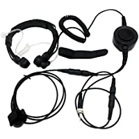 SUNDELY® Military Grade Tactical Throat Mic Headset/Earpiece with Finger PTT for Uniden Radio Walkie Talkie MHS350 Atlantis260 UH078 1-pin