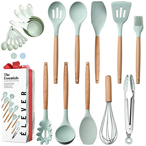 OLD Kitchen Utensils Set – 20 Silicone Cooking Utensils for Non-stick Cookware. Wood Kitchen Utensils. Silicone Spatula…