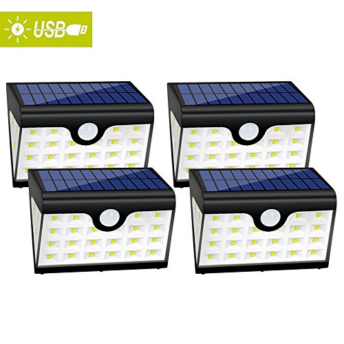 Hallomall USB Solar Lights, 28LED 300Lumens Max Wide-Angel Outdoor Wall Lights with 3LEDs Both Sides, Ultra Bright Motion Sensor Lights for Patios Stairways Lawn Garden, 3 Modes, Pack of 4