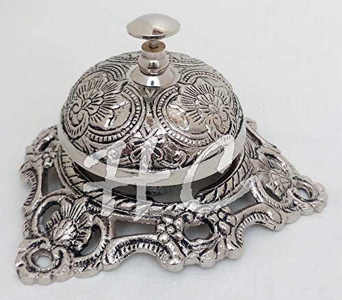 Vintage Brass Reception Desk Service Bell Ornate Call Rin...