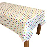 "2 Pcs. Polka Dot Disposable Party Table Cover Cloth, One Time Single Use Tablecloth, 69"" x 51"""