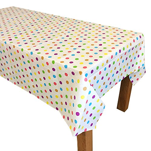 "2 Pcs. Polka Dot Disposable Party Table Cover Cloth, One Time Single Use Tablecloth, 69"" x 51"" by TOIZU"