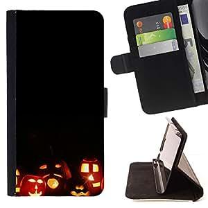 For Samsung Galaxy S5 Mini (Not S5), SM-G800 Case , Halloween de la caída del otoño de la calabaza- la tarjeta de Crédito Slots PU Funda de cuero Monedero caso cubierta de piel