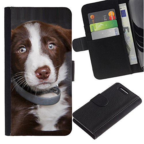 OMEGA Case / Sony Xperia Z1 Compact D5503 / australian shepherd dog puppy blue eyes / Cuero PU Delgado caso Billetera cubierta Shell Armor Funda Case Cover Wallet Credit Card