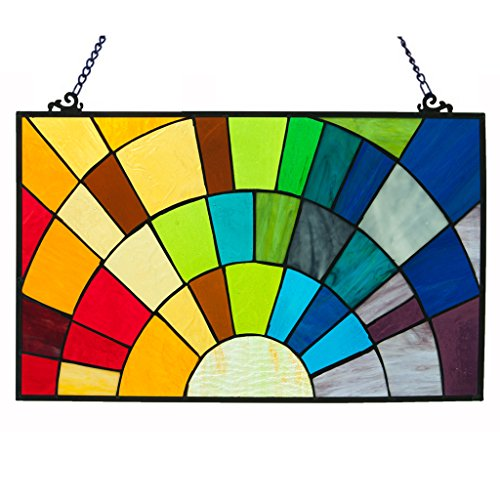 River Of Goods Glass Stained Glass Window Panels 15107 River Of Goods 12 Inch Tall Stained Glass Rays Of Sunshine Window Panel 20 X 12 X 0.25 Inches Multicolored