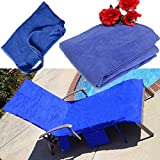 KING DO WAY Lounge Chair Beach Towel Microfiber Pool Lounge Chair Cover with Pockets Holidays Sunbathing Quick Drying Towels Blue 83''x30''