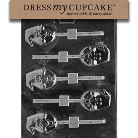 Dress My Cupcake DMCH052 Chocolate Candy Mold, Ghost Head Lollipop, Halloween