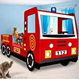Single child car bed frame Boys junior bed Fire Truck Design 205x103cm Kids Bedroom