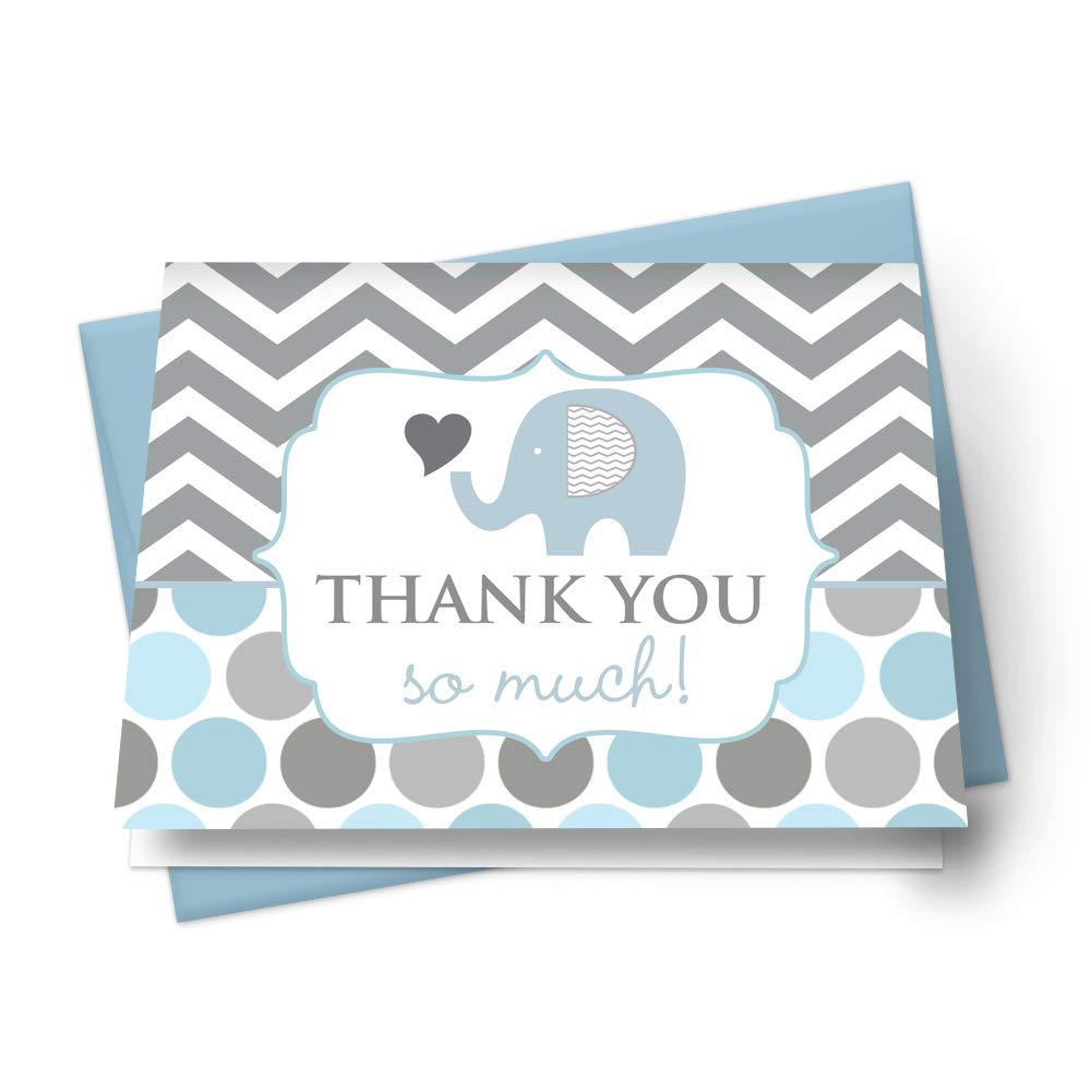 Elephant Thank You Cards and Blue Envelopes (Set of 20) Boys Baby Shower Stationery