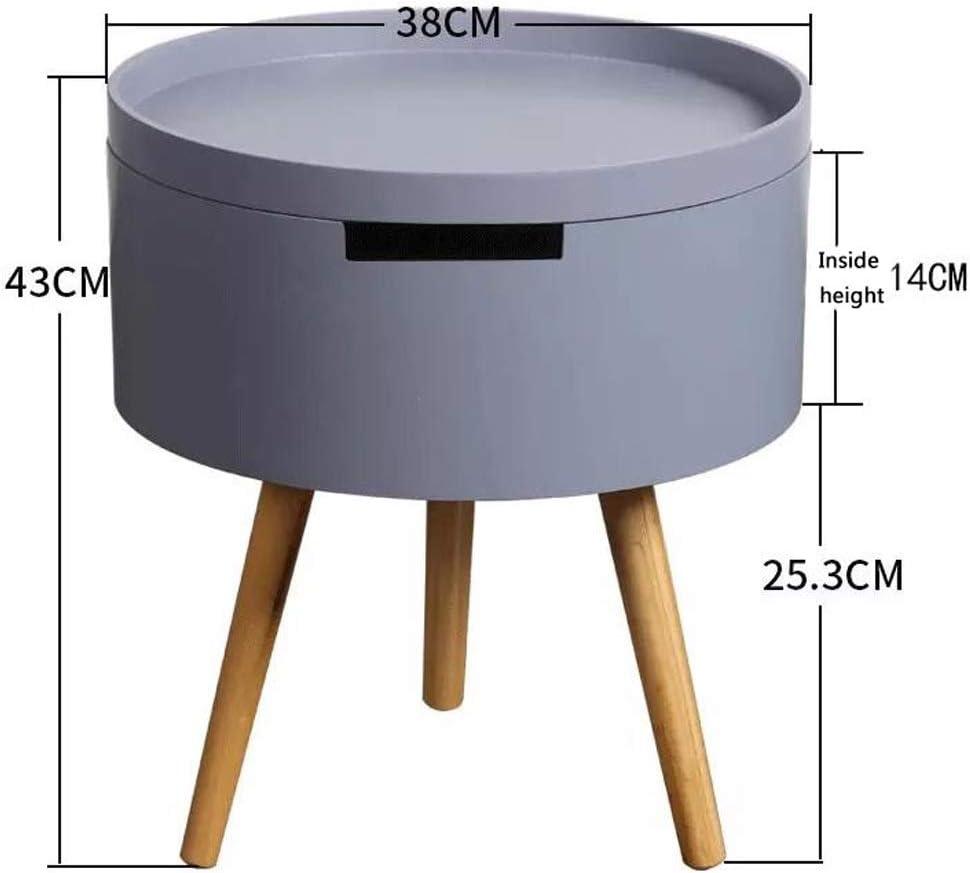 Fabriek Te Koop MBZL bijzettafel, koffietafel, bijzettafel, slaapkamer, ronde opbergzijde, tafel voor woonkamer, thuis en kantoor grijs tIfhBVE