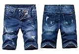 Heart Yuxuan Men's Fashion Slim Casual Denim Short (32, Dark Blue)