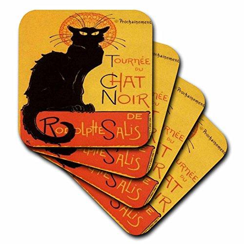 3dRose cst_46907_3 Le Chat Noir Advertising, Art Nouveau, Black Cat, Cat, Cats, (Black Cat Tile)