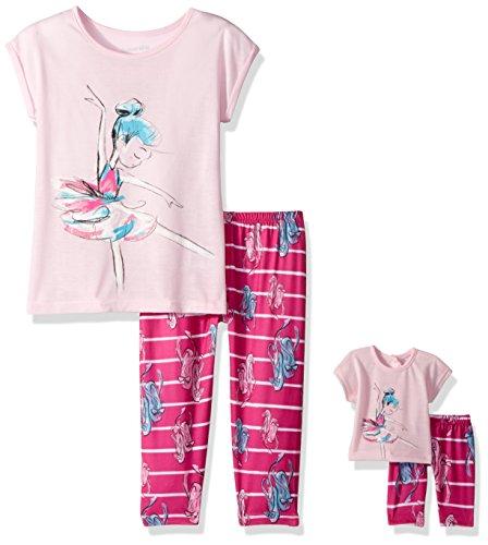 Komar Kids Big Girls' for Me and My Dream Doll Jersey Pajama Set, Ballerina, 10