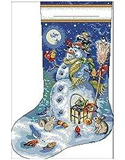 OVBBESS Cross Stitch Kits Borduurpakket - Kerst Kousen, Sneeuwpop Patronen