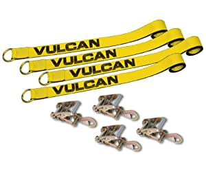 """Set of Four 2"""" x 12' Loop Exotic Car Tie Down Straps With Ratchets"""
