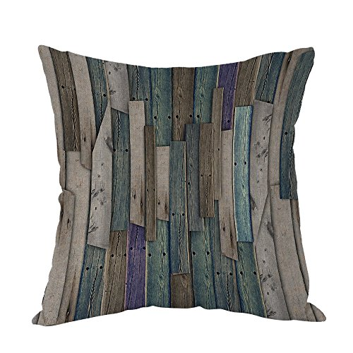 (Moslion Wood Design Pillow,Home Decor Throw Pillow Cover Blue Grey Grunge Rustic Planks Barn House Wood And Nails Lodge Hardwood Graphic Cotton Linen Cushion Cover 18 x 18 inch Square Pillow case)