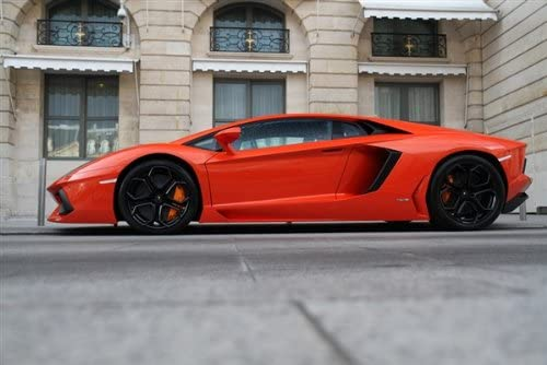 Orange luxury sport car Lamborghini Aventador Poster