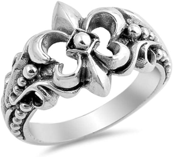 Sterling Silver 925 North Arrow Shop Fleur De Lis Ring New Orleans and Flower Theme