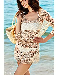 Women's Sexy Crochet Tunic Cover Up, Lace Hollow Out Beach Dress
