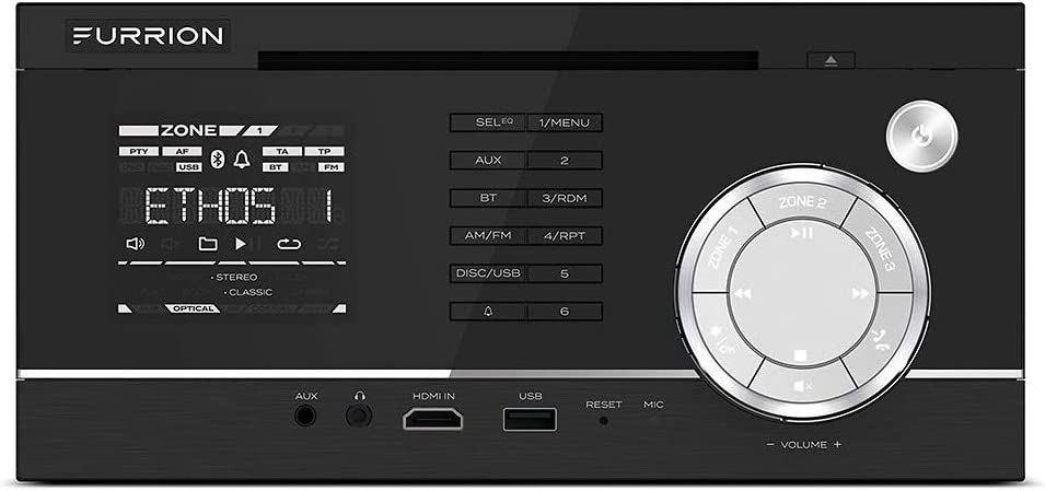 Furrion 3-Zone Entertainment System with a built-in DVD Player & 2-Zone Independent Control. Supports CD, DVD, MP3, WMA, MP4, AVI, Radio, USB, Bluetooth 4.0, NFC, HDMI-In, AUX-In & LCD - DV1230-BL