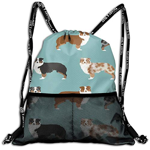 Australian Shepherds Dogs Drawstring Bag Travel Swim Shoulder