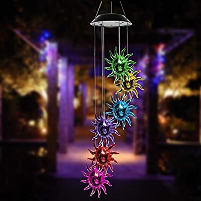 ISFORU LED Solar Seashell Wind Chime, Changing Color Waterproof Solar Seashell Wind Chimes Hanging Lantern Light for Home Party Bedroom Night Garden Decoration