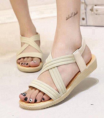 YOUJIA Sandalias del Verano Romanas Bohemia Zapatos de playa Sandalias Plana para Mujeres Beige