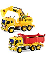 GizmoVine Toys for 2 Years Old Boys Friction Powered Construction Excavator and Dump Car Inertial Vehicles Toy Cars Gift for Toddlers & Kids (2 of Set) (Updated)
