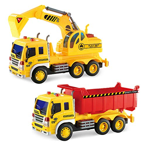 Gizmovine Car Toys Early Construction Toys Vehicles 1:16 Scale Excavator Toy and Dumper Truck Toy Set of 2 Friction Powered with LED and Sounds Outside Toys for Toddler Boy Kids ()