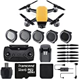 DJI Spark 12MP Still Photos/1080p30 Video + 32GB Class 10 Memory Card + 5PC Filter Set (ND4, ND8, ND16 & UV) & Total Of 2 Batteries - Starter Bundle (Standard, Sunrise Yellow)